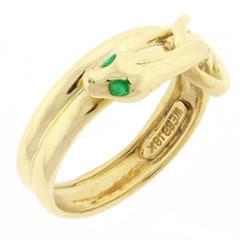 David Webb Emerald Gold Serpent Ring