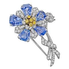 C.D. Peacock Cornflower Sapphire Multicolored Diamond Platinum Flower Brooch