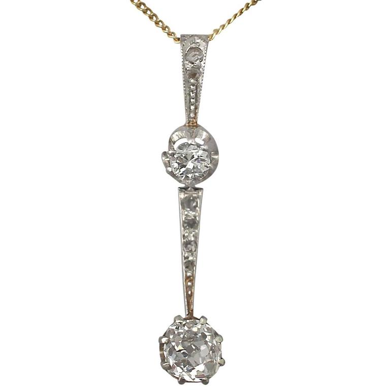 0.50Ct Diamond and 18k White Gold Pendant - Antique Circa 1920