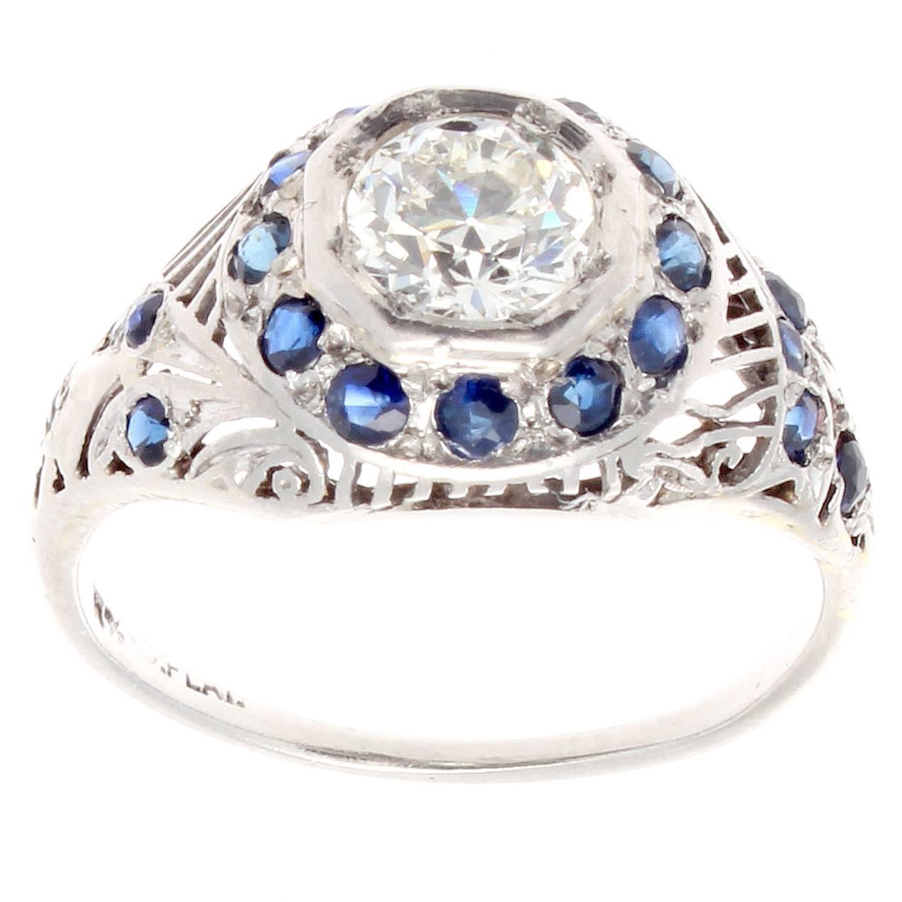 deco sapphire platinum engagement ring for
