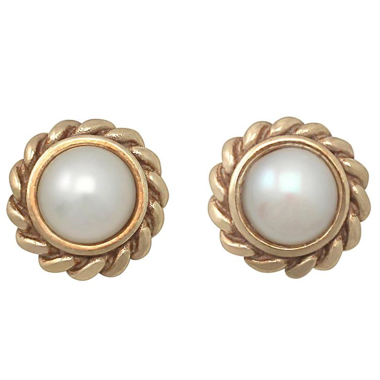 Pearl And 9k Yellow Gold Stud Earrings Vintage Circa 1990 For