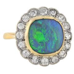 Edwardian Mixed Metals Black Opal Diamond Ring
