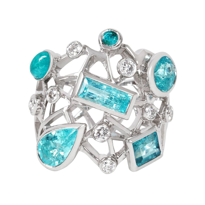 Paraiba Tourmaline Diamond Gold Cobweb Cocktail Ring For Sale At 1stdibs