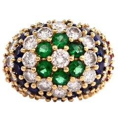 "1980""S Multi Gem Diamond Gold Cluster Cocktail Ring"