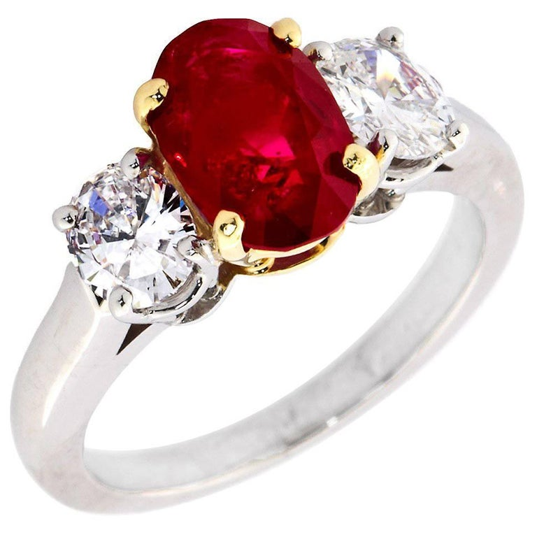 Rare Burma No-Heat 2.64 Carat Oval Ruby Diamond Three-Stone Ring For Sale