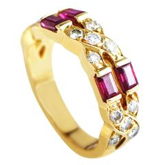 Tiffany & Co. Diamond Ruby Gold Band Ring