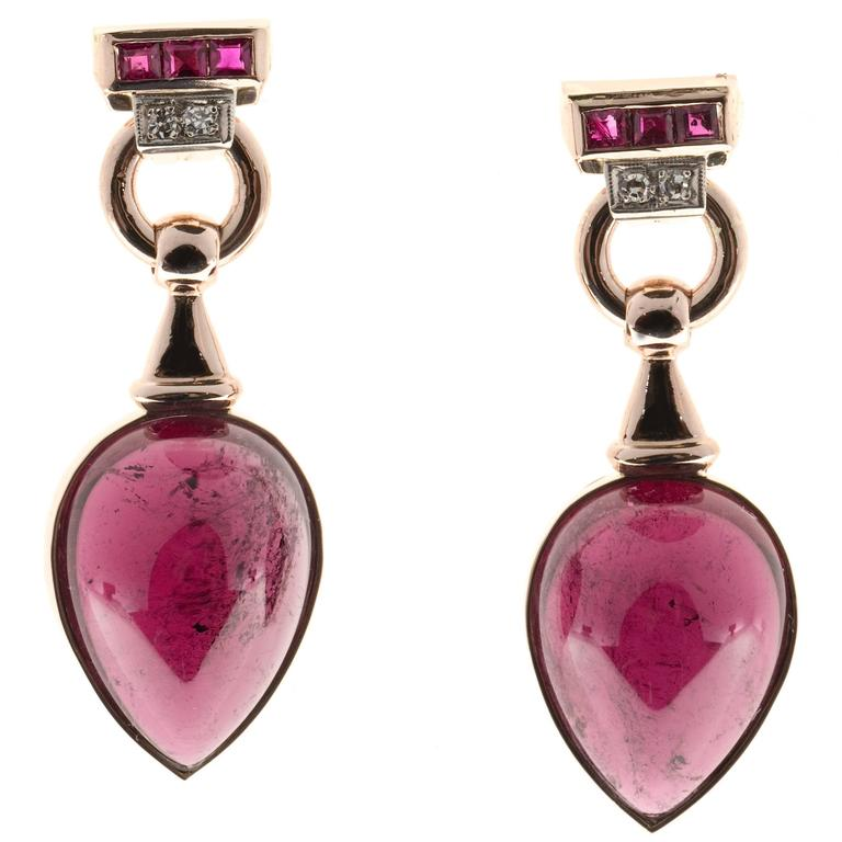 Red Tourmaline Cabochon Pear Ruby Diamond Gold Dangle Earrings 1