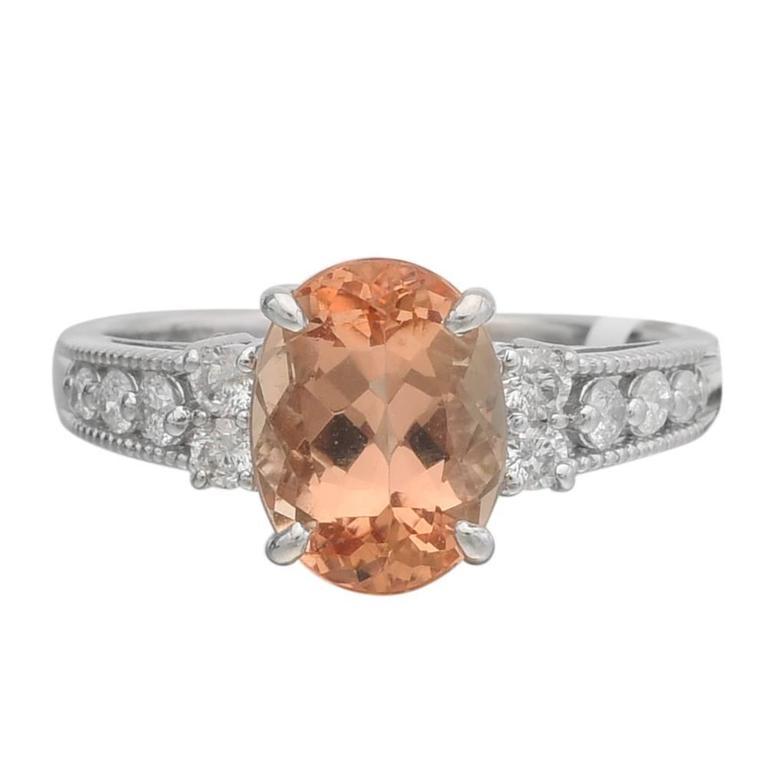 Imperial Topaz Diamond Platinum Ring