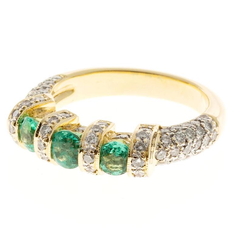 Emerald Pavé Diamond Gold Ring