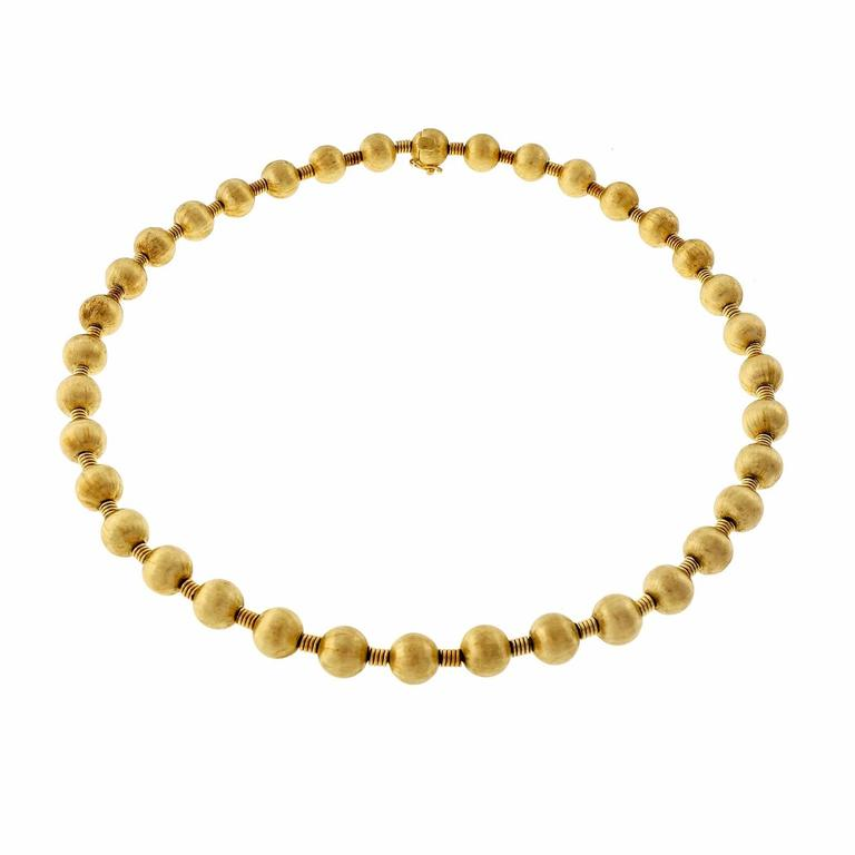 Textured Beaded Gold Necklace