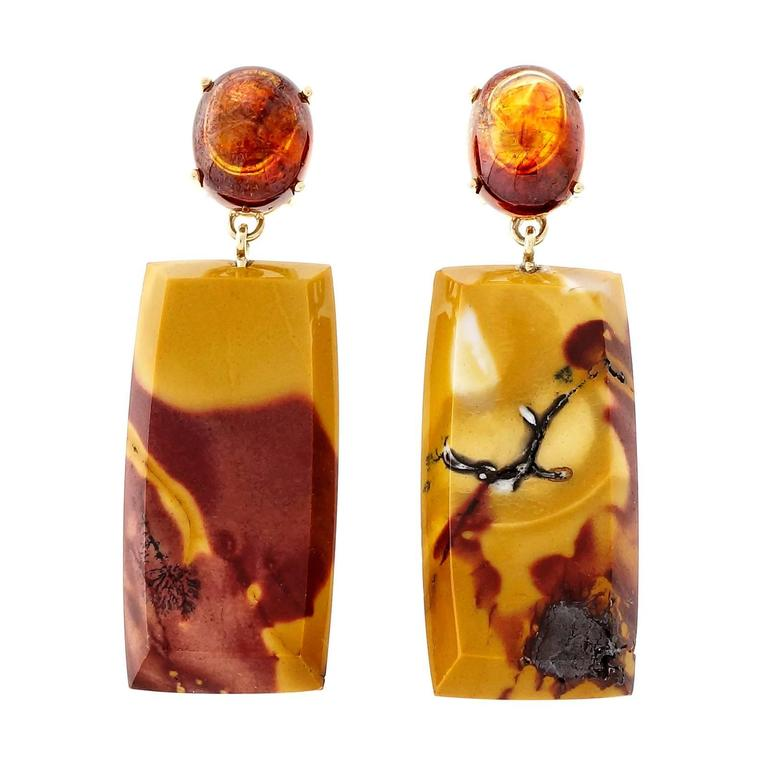 Peter Suchy Jasper Sphalerite Gold Dangle Earrings