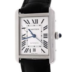 Cartier Stainless Steel Tank Solo Automatic Date Wristwatch