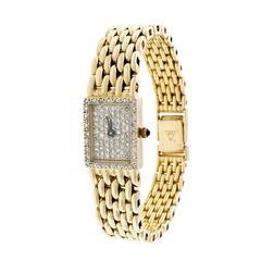 Cyma Lady's Yellow Gold Diamond Custom Dial Quartz Wristwatch