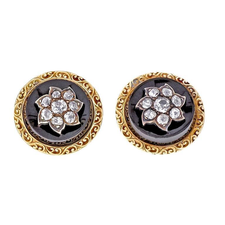 Victorian Old Mine Diamond Black Onyx Silver Gold Earrings