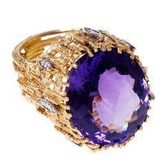 1967 Andrew Grima Single Stone Amethyst Diamond Gold Ring