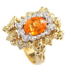 Stambolian Spessartite Garnet Diamond Gold Harvest Ring