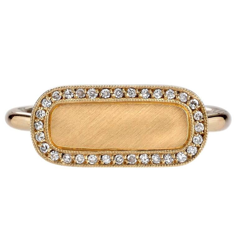 Diamond Gold Surround Modern Signet Ring  For Sale