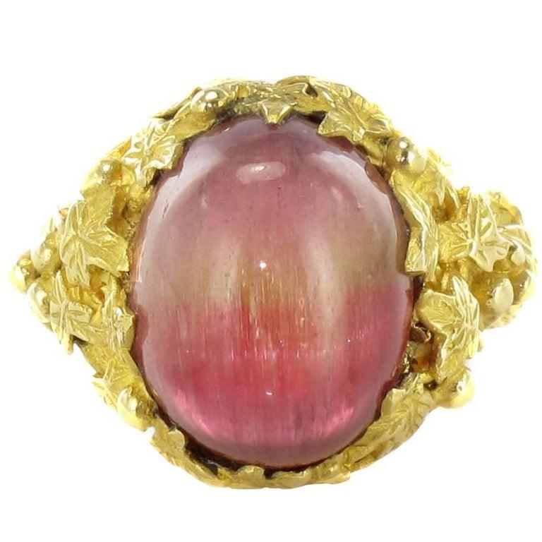 Baume 16 Carat Watermelon Cabochon Tourmaline Gold Ring