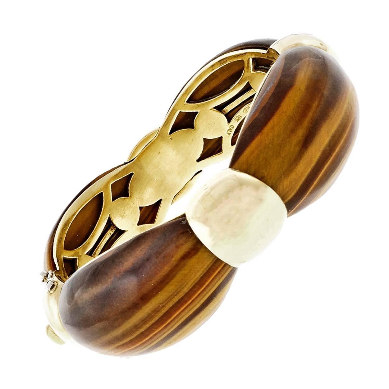 Van Cleef & Arpels Tiger Eye Gold Bangle Bracelet