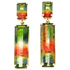 Peter Suchy Tourmaline Gold Dangle Earrings