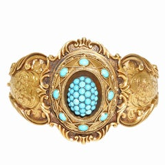 Natural Persian Turquoise Gold Bangle Bracelet