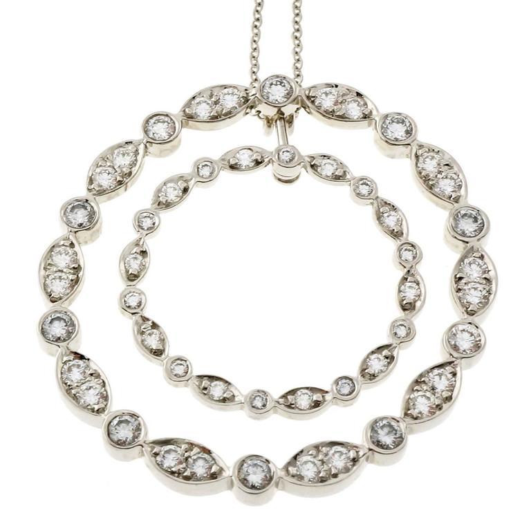Tiffany & Co. Diamond Platinum Swing Circle Pendant Necklace