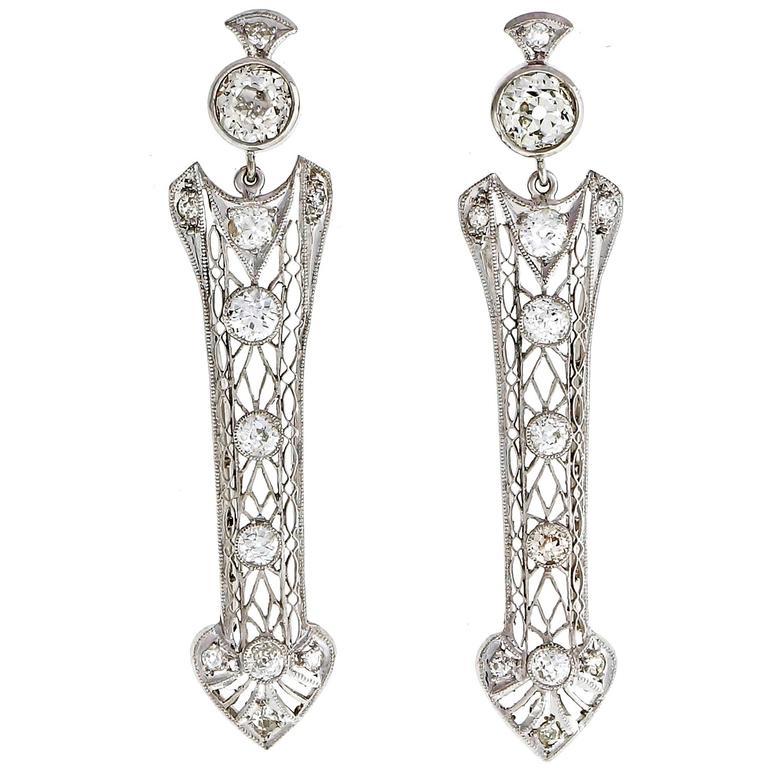 a16214664 Diamond Platinum Arrow Dangle Earrings For Sale. Edwardian ...