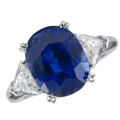 Boucheron Paris AGL Certified Natural 6.15 Carat Ceylon Sapphire Diamond Ring