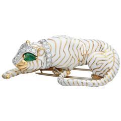 David Webb White Enamel Emerald Diamond Gold Platinum Crouching Tiger Brooch