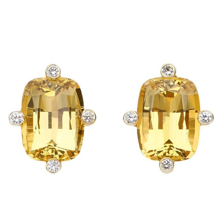 Beryl Diamond Gold Earrings For Sale