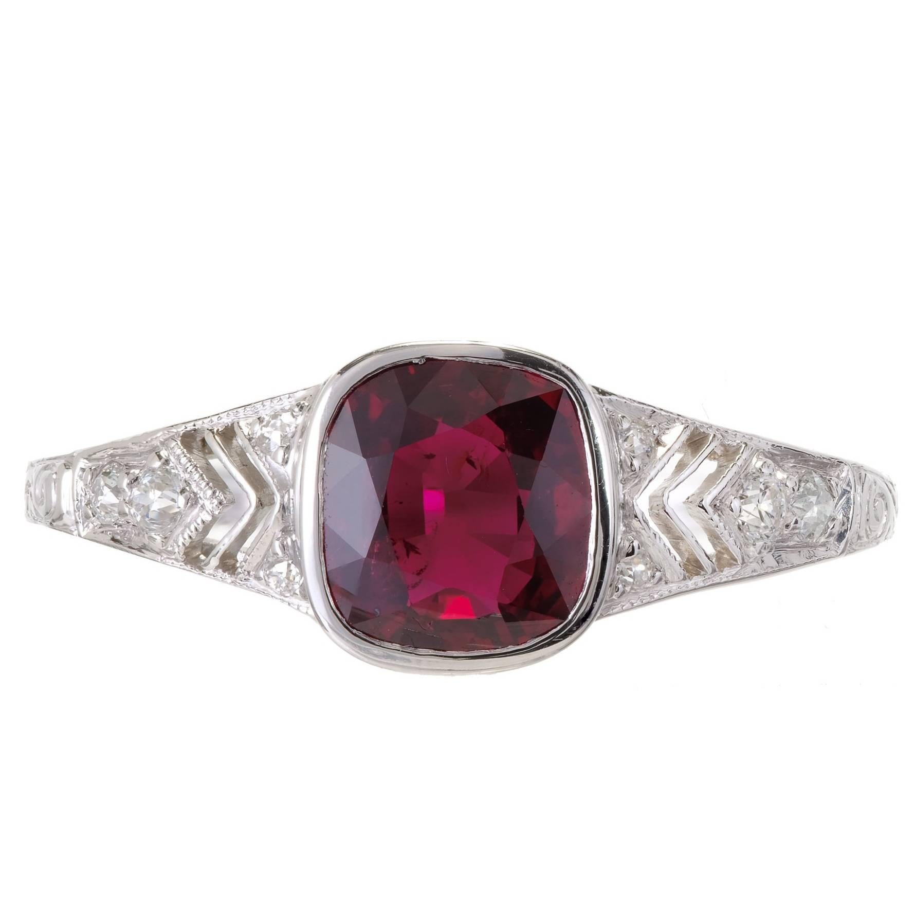 Tiffany & Co. GIA Certified 1.52 Carat Ruby Diamond Platinum Engagement Ring