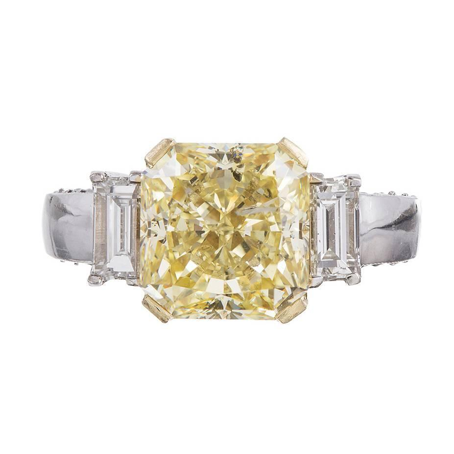 5 14 carat fancy yellow two color gold ring at 1stdibs