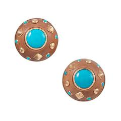 Trianon Sandalwood Turquoise Gold Ear Clips