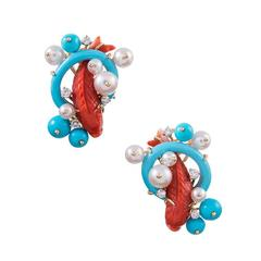 """Seaman Schepps Red Coral Turquoise Pearl Diamond Gold """"Koi"""" Earrings"""