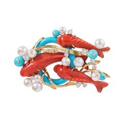 """Seaman Schepps Red Coral Turquoise Pearl Diamond Gold """"Koi"""" Brooch"""