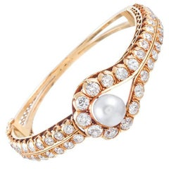Pearl Diamond Hinged Bangle Bracelet