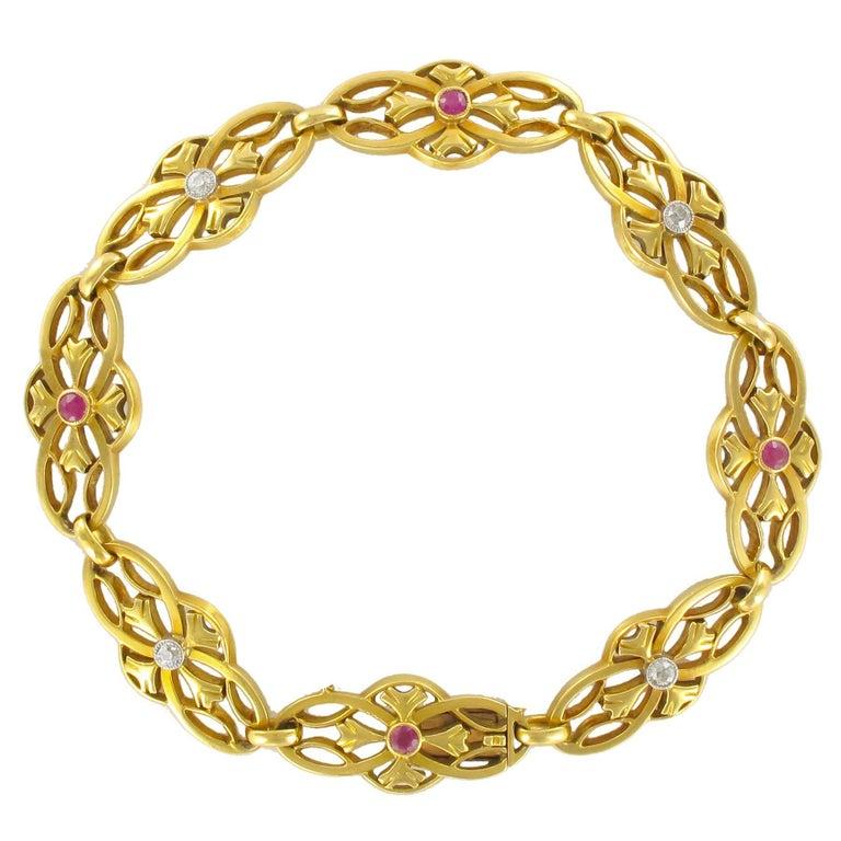 1880s Gold, Diamond and Ruby Bracelet