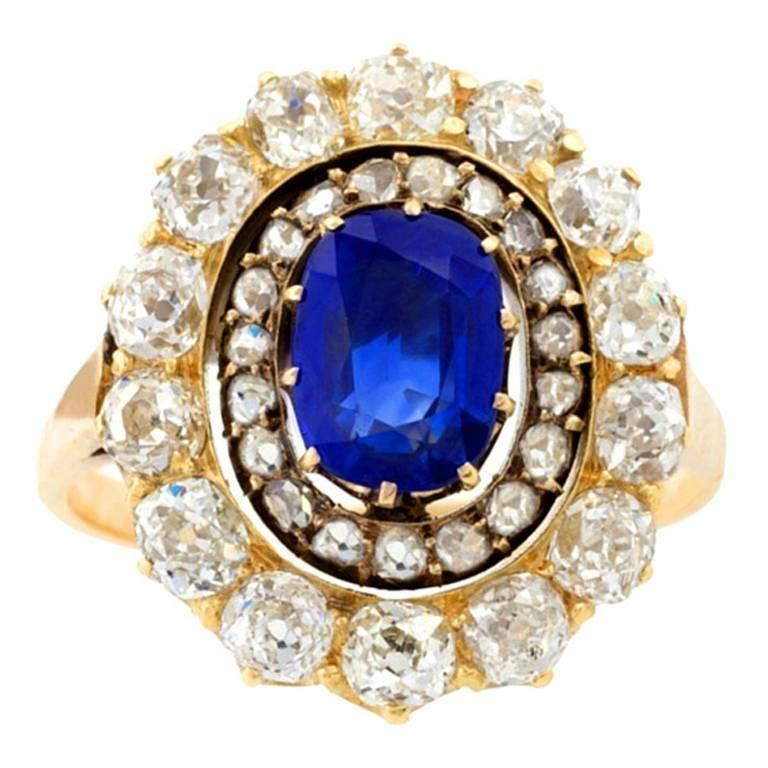 English Antique Sapphire Diamond Silver Gold Cluster Ring For Sale