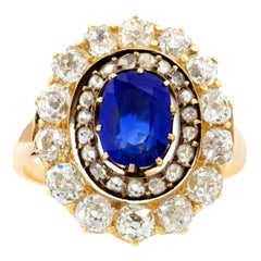English Antique Sapphire Diamond Silver Gold Cluster Ring