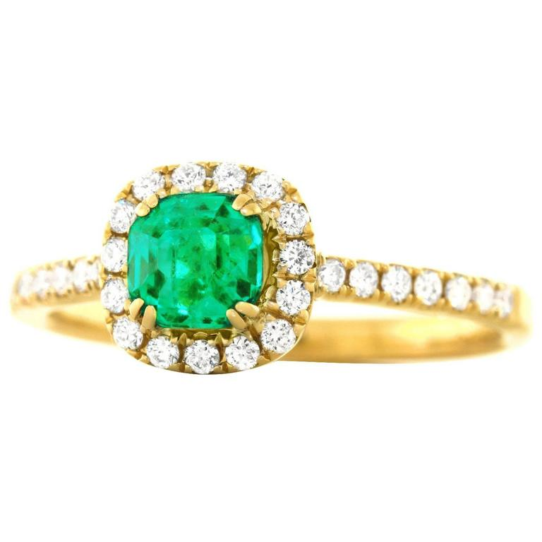 emerald and set gold ring for sale at