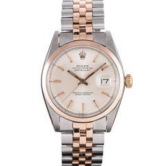 Rolex Rose Gold Stainless Steel Smooth Bezel Datejust Wristwatch
