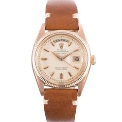 Rolex Rose Gold Italian Day-Date Wristwatch