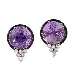 Art Deco Amethyst, Diamond, Enamel and Platinum Earrings