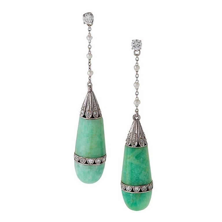 Art Deco Jadite Jade, Diamond, Pearl and Platinum Earrings 1