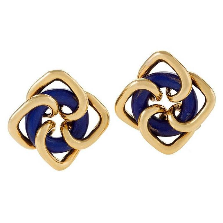 Tiffany & Co. Mid-20th Century Lapis Lazuli and Gold Earrings  1