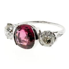 Natural Purple Pink Spinel Diamond Platinum Three Stone Engagement Ring