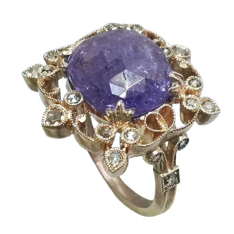 Dalben Tanzanite Diamond Gold Ring