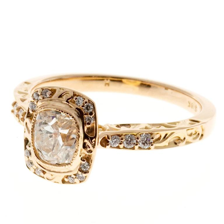 Peter Suchy Diamond Halo Gold Engagement Ring 1