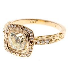 Peter Suchy Diamond Gold Halo Engagement Ring