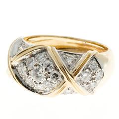 "Peter Suchy Pave Diamond Dome ""X"" Gold Ring"
